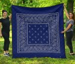 Blue And Gray Bandana Premium Quilt