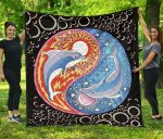 Celestial Sun Moon Yin Yang Dolphin Premium Quilt
