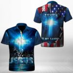 Jesus Is My Savior Short Sleeve Linen Button Down Shirt