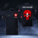 Customize Switzerland Coat Of Arms - Flag Skull Polo Shirt