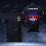 Customize Cambodia Coat Of Arms - Flag Skull Polo Shirt