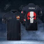 Customize Peru Coat Of Arms - Flag Skull Polo Shirt