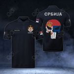 Customize Serbia Coat Of Arms - Flag Skull Polo Shirt