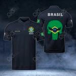 Customize Brazil Coat Of Arms - Flag Skull Polo Shirt