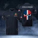Customize Dominican Republic Coat Of Arms - Flag Skull Polo Shirt