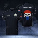 Customize Paraguay Coat Of Arms - Flag Skull Polo Shirt