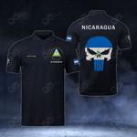 Customize Nicaragua Coat Of Arms - Flag Skull Polo Shirt