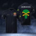 Customize Jamaica Coat Of Arms - Flag Skull Polo Shirt