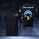 Customize Saint Lucia Coat Of Arms - Flag Skull Polo Shirt