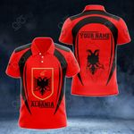 Customize Albania Map & Coat Of Arms All Over Print Polo Shirt