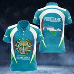 Customize Uzbekistan Map & Coat Of Arms All Over Print Polo Shirt