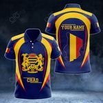 Customize Chad Map & Coat Of Arms All Over Print Polo Shirt
