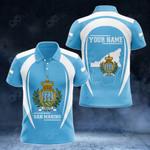 Customize San Marino Map & Coat Of Arms All Over Print Polo Shirt