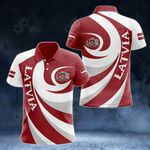 Latvia Coat Of Arms - Whirlpool Style All Over Print Polo Shirt