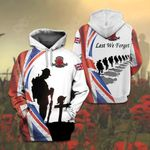 British Army Veteran Lest We Forget Poppy All Over Print Hoodies