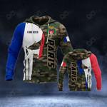 Customize France Flag Skull Camo - Paris All Over Print Hoodies