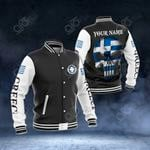Customize Greece Coat Of Arms - Flag Skull All Over Print Varsity Jacket
