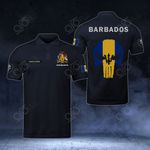 Customize Barbados Coat Of Arms - Flag Skull Polo Shirt