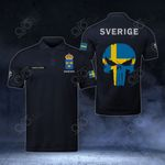 Customize Sweden Coat Of Arms - Flag Skull Polo Shirt