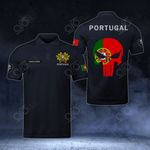 Customize Portugal Coat Of Arms - Flag Skull Polo Shirt