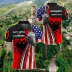 Made In America With Albanian Parts All Over Print Polo Shirt
