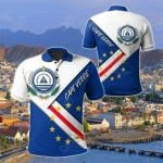 Cape Verde Flag With Coat Of Arm All Over Print Polo Shirt