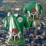 Nigeria - Nigerian Waving Flag With Coat Of Arms All Over Print Polo Shirt