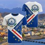 Cape Verde Flag With Coat Of Arm All Over Print T-shirt