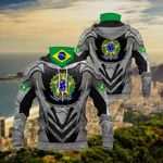 Brazil Coat Of Arms - Armor All Over Print Neck Gaiter Hoodie