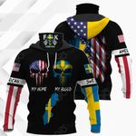 America My Home Sweden My Blood All Over Print Neck Gaiter Hoodie
