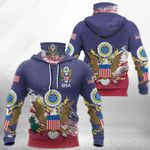 United States Coat Of Arms All Over Print Neck Gaiter Hoodie