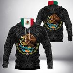 Mexico Coat Of Arms - Aztec All Over Print Neck Gaiter Hoodie