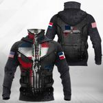 Dominican Republic Flag Armor 3D All Over Print Neck Gaiter Hoodie