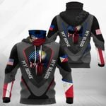 America My Home Philippines My Blood - Skull Flag All Over Print Neck Gaiter Hoodie