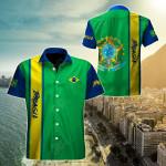 Brazil Expats Short Sleeve Linen Button Down Shirt