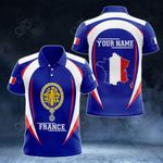Customize France Map & Coat Of Arms All Over Print Polo Shirt