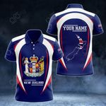 Customize New Zealand Map & Coat Of Arms All Over Print Polo Shirt
