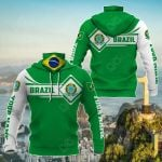 Customize Brazil Map & Coat Of Arms All Over Print Neck Gaiter Hoodie