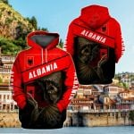 Albania Coat Of Arms & Skull All Over Print Hoodies