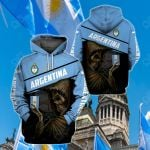 Argentina Coat Of Arms & Skull All Over Print Hoodies