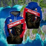 Philippines Coat Of Arms & Skull All Over Print Hoodies