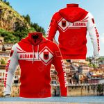 Customize Albania Map & Coat Of Arms All Over Print Neck Gaiter Hoodie
