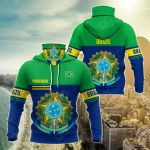 Customize Brazil Coat Of Arms Style All Over Print Neck Gaiter Hoodie