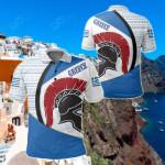 Greece - Spartan Warrior Helmet Vintage Ethnic Seamless All Over Print Polo Shirt