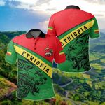 Africa - Ethiopia Lion Flag Color All Over Print Polo Shirt