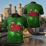 Wales Celtic - Dragon With Celtic Cross All Over Print Polo Shirt