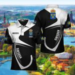 Customize Sweden Coat Of Arms & Flag All Over Print Polo Shirt