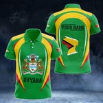 Customize Guyana Map & Coat Of Arms All Over Print Polo Shirt