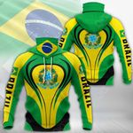 Brazil Coat Of Arms & Flag All Over Print Neck Gaiter Hoodie