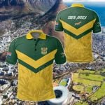South African Rising King Protea Yellow All Over Print Polo Shirt